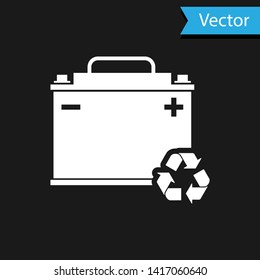 White Car battery with recycle icon isolated on black background. Accumulator battery energy power and electricity accumulator battery. Vector Illustration