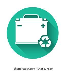 White Car battery with recycle icon isolated with long shadow. Accumulator battery energy power and electricity accumulator battery. Green circle button. Vector Illustration