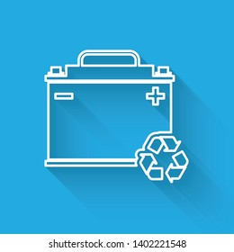 White Car battery with recycle line icon isolated with long shadow. Accumulator battery energy power and electricity accumulator battery. Vector Illustration
