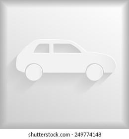 White car icon, vector illustration
