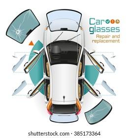 Im weißen Auto mit offenen Türen an der Tankstelle wechseln Sie vorne, hinten und seitlich Brille, Rückspiegel. Die kaputte Brille liegt in der Nähe.