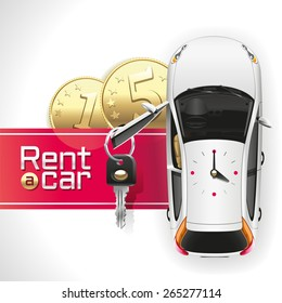White car with an open driver's door, on which hangs a key, standing on the red carpet under which lie the two gold coins. On the roof of the car analog clocks show 4:00.