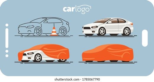 White car state template perfect for use in mobile applications, banner, web, landing page