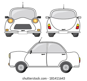 White car vector illustration, front, side and back view. Creative transportation design.