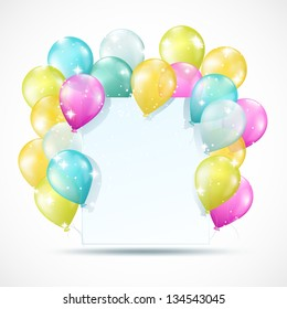 white card with balloons and sparkles