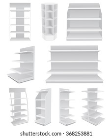White Cardboard Blank Empty Displays With Shelves Products.