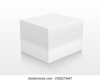 White Cardboard Box With Reflection On Floor. EPS10 Vector