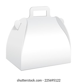 White Cardboard Carry Box Packaging For Food, Gift Or Other Products. On White Background Isolated. Ready For Your Design. Product Packing Vector EPS10