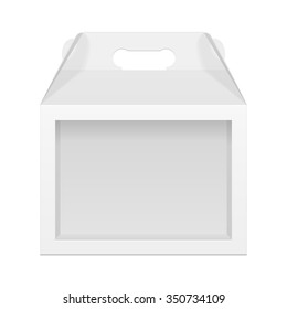 White Cardboard Carry Box Packaging For Toy, Electronics, Gift Or Other Products. Illustration Isolated On White Background. Front View. Mock Up Template Ready For Your Design. Packing Vector EPS10