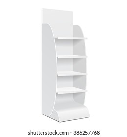 White Cardboard Floor Display Rack For Supermarket Blank Empty Displays With Shelves Products Mock Up On White Background Isolated. Ready For Your Design. Product Packing. Vector EPS10