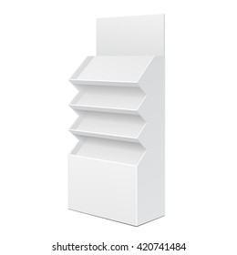 White Cardboard Floor Display Rack For Supermarket Blank Empty Displays With Shelves Products On White Background Isolated. Ready For Your Design. Product Packing. Vector EPS10
