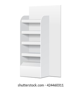 White Cardboard Floor Display Rack For Supermarket Blank Empty Displays With Shelves And Banner Products Mock Up On White Background Isolated. Ready For Your Design. Product Packing. Vector EPS10