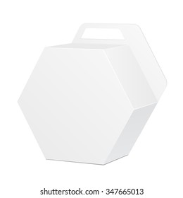 White Cardboard Hexagon Carry Box Bag Packaging With Handle For Food, Gift Or Other Products. Illustration Isolated On White Background. Mock Up Template Ready For Your Design. Product Packing Vector