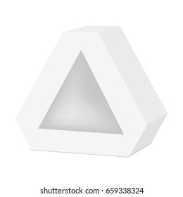 White cardboard hexagon triangle carry box bag packaging for food, gift or other products. Vector mock up template ready for your design