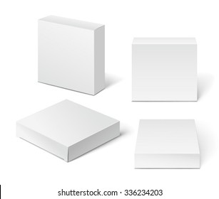 White Cardboard Package Box. Illustration Isolated On White Background.