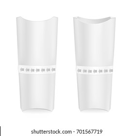 White cardboard packaging for sandwich.