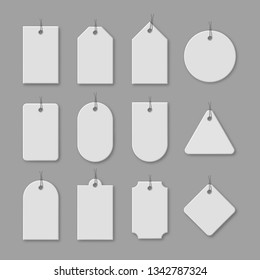 White cardboard price tags with shadow for sale campaign. Different shapes of realistic label templates with space for text isolated on grey background. Promotion and announcement vector illustration.