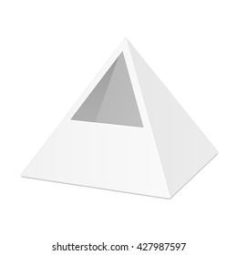White Cardboard Pyramid Triangle Box Packaging Stock Vector Royalty