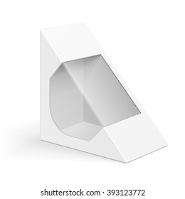 White Cardboard Triangle Box Packaging For Sandwich, Food, Gift Or Other Products. Illustration Isolated On White Background. Mock Up Template Ready For Your Design. Product Packing Vector EPS10