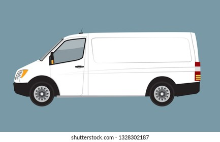 White Cargo Business Van mock up for Brand and Corporate identity. Freight Mini Van Vehicle flat vector illustration.