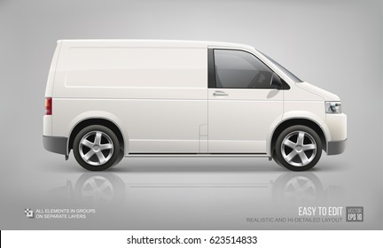 White Cargo Business Van vector template for Brand Mockup and Corporate identity on City Transport. Realistic Freight Mini Van Vehicle isolated on grey background. Service City Car