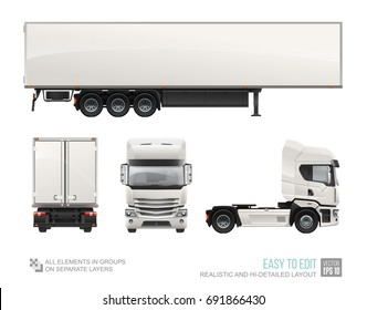 White Cargo Truck Trailer - vector Mockup template isolated on white background. Realistic Car Delivery Semi Truck Trailer layout for corporate brand identity design. Cargo vehicle back, side view