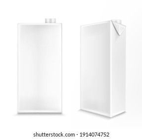 White carton box for milk or juice in front and angle view. Vector realistic 3d mockup of blank cardboard package for liquid dairy products and drinks isolated on white background
