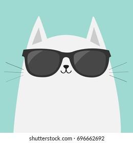 White cartoon cat or kitten wearing black sunglasses. Flat, vector design isolated on blue background.
