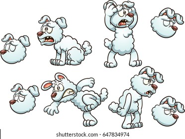 White cartoon dog with different poses. Vector clip art illustration with simple gradients. All in a single layer.