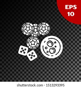 White Casino chips, game dice and glass of whiskey with ice cubes icon isolated on transparent dark background. Casino poker.  Vector Illustration