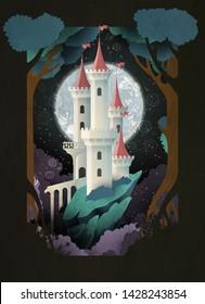 Weiße Burg vor Nachthimmel und Mond. Märchenhafte Illustration. Buchcover, Poster oder Postkartendesign