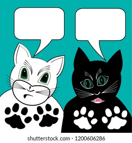 White cat and black tomcat in dialogue, black and white foot prints, speech bubbles with empty area, comic animal cartoons