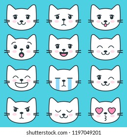 White cat faces with different emotions