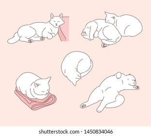 The white cat is sleeping in various positions. hand drawn style vector design illustrations.