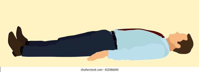 White or Caucasian Business man Lying on his Back