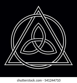 White Celtic Trinity Knot in circle and triangle on the black background for design. Vector illustration.
