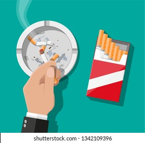 White ceramic ashtray full of smokes cigarettes. Crockery for smoking. Cigarette paper package top view. Vector illustration in flat style