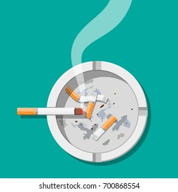 White ceramic ashtray full of smokes cigarettes. Crockery for smoking. Top view. Vector illustration in flat style