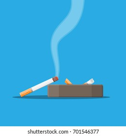 White ceramic ashtray full of smokes cigarettes. Crockery for smoking. Side view. Vector illustration in flat style