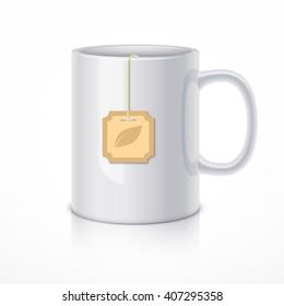 White ceramic mug with tea bag. Realistic vector illustration