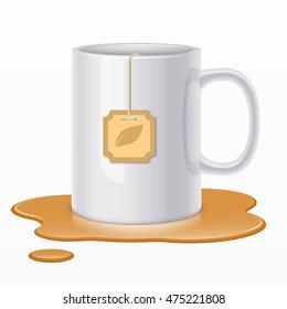 White ceramic mug with tea bag and spilled tea