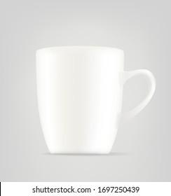 White ceramic mug vector illustration