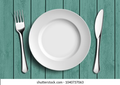 White ceramic plate, fork and knife on a green wooden table. Stock vector illustration.