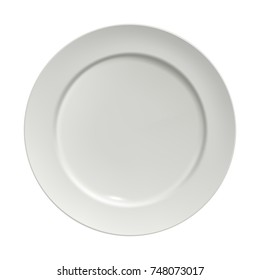 White ceramic plate, top view, isolated on white