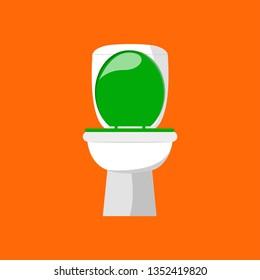 White ceramic toilet in flat style isolated on orange background. Vector illustration EPS 10.