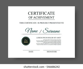 certificate template sample words position vector stock vector