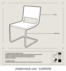 white chair blueprint perspective view annotations stock vector