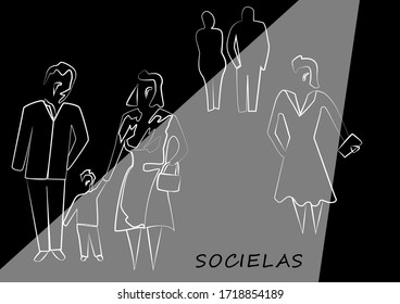 White chalk silhouettes of pedestrians in the street. Vector stylized lines human shapes. Abstract fashion hand drawn illustration. Monochrome social sketches.