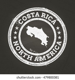 White chalk texture grunge stamp with Republic of Costa Rica map on a school blackboard. Grunge rubber seal with country map outline, vector illustration.
