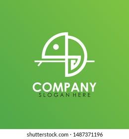 White Chameleon Logo Design. Isolated In Green Background. Vector Illustration